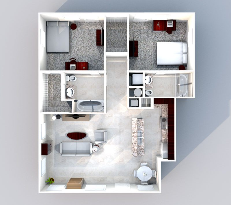 2 Bedroom & 2 Bath - Floorplan for Quarters on Luther Apartment